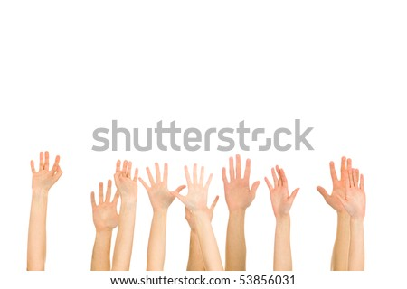 Many hands high up - stock photo