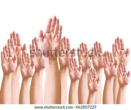 Many hands high up / Business crowd raising hands high up on white background. Concept Business / Question / Ask.