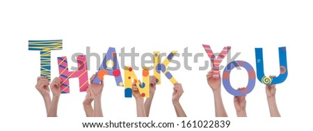Many Hands Holding a Colorful Thank You, Isolated - stock photo