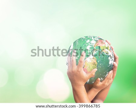 Many hands holding globe. Solidarity World Cancer Unity Hour Earth Day CSR Spring Time Languages Justice Kidney Color Family Support Life Kid Trust Help Idea. Elements of this image furnished by NASA. - stock photo