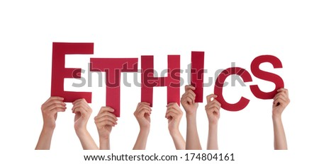 Many Hands Holding the Red Letters Ethics, Isolated - stock photo