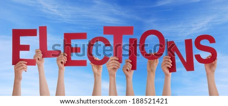 Many Hands Holding the Red Word Elections in the Sky - stock photo