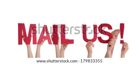 Many Hands Holding the Red Words Mail Us, Isolated - stock photo