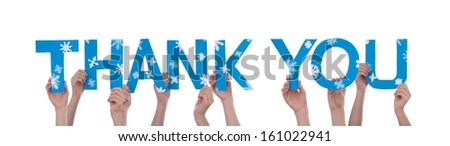Many Hands Holding the Words Thank You With Snowflakes and in Blue, Isolated