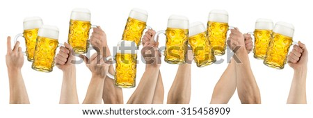 many hands holding up german oktoberfest beer isolated on white background - stock photo