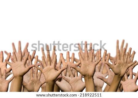 Many hands isolated - stock photo