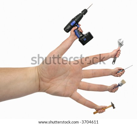 Many Hands Make Light Work!(isolated) - stock photo