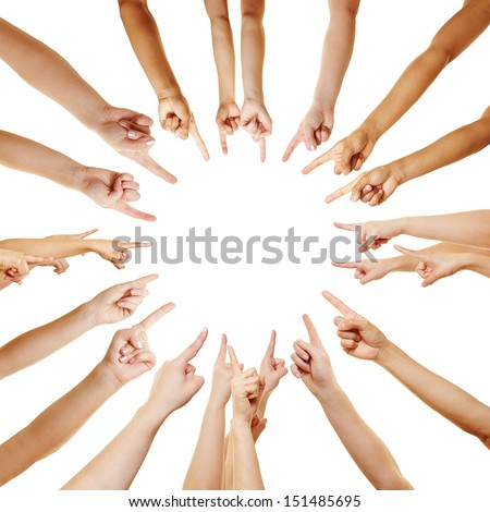 Many hands pointing with their fingers to the center - stock photo