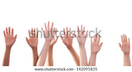 Many Hands raise high up on white background - stock photo