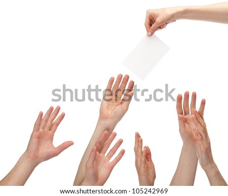 Many hands wanting to get offer (you can write your text on a white sheet of paper); many hands reaching out for blank paper with copy space, isolated on white - stock photo