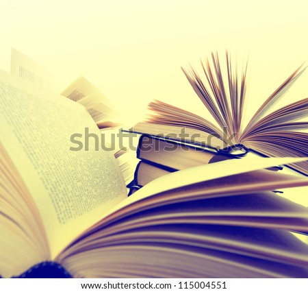 Many hardcover books. Toned image - stock photo