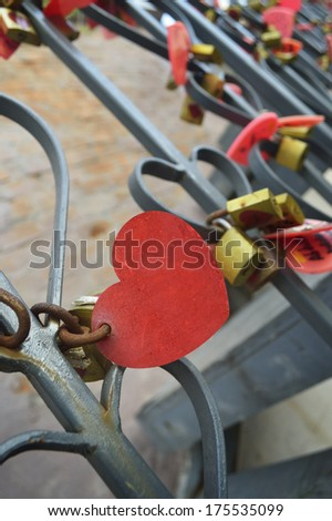 Many heart plates love symbol - stock photo