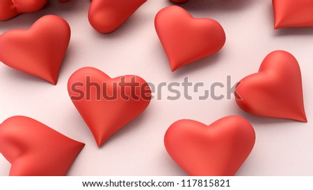 Many hearts on a light background, love is not an easy choice - stock photo