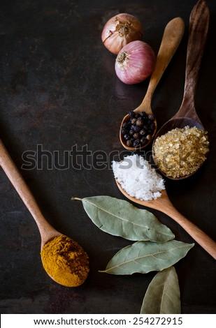 many herbs on grunge tray still life image dark tone - stock photo