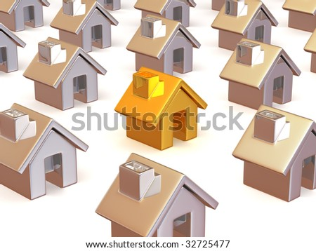 Many houses. 3d