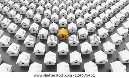 Many houses one is yellow - stock photo
