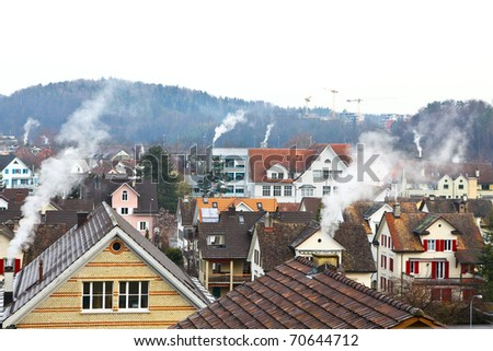 Many Houses using a lot of Energy for Heating. - stock photo