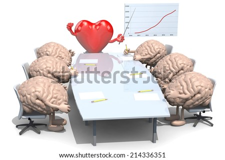 many human brains meeting around the table and follow their boss, the heart - stock photo