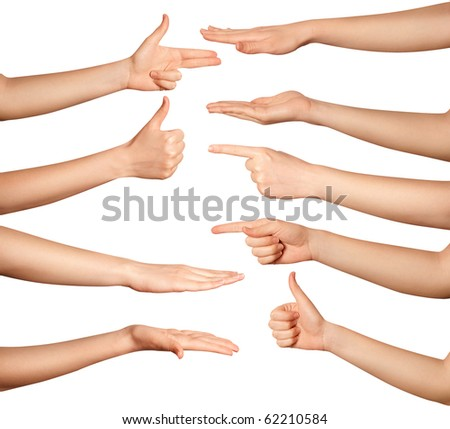 many human hands isolated on white background - stock photo