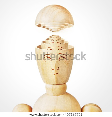 Many human heads are inserted one into the other. Concept of complexity of the mind. Abstract image with a wooden puppet - stock photo