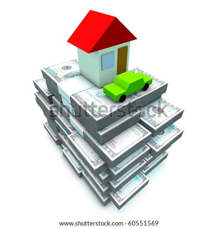 Many hundred dollars banknote with home and cars - stock photo