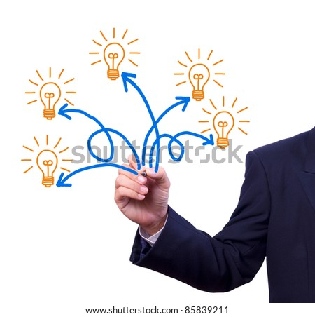 many idea light bulb writing by hand - stock photo