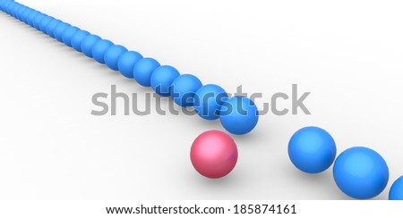 Many identical 3d spheres and only one different - stock photo