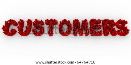 Many illustrated red people stand in formation on letters to make the word Customers - stock photo