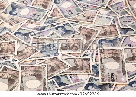 many japanese yen, the currency bills. japan money - stock photo