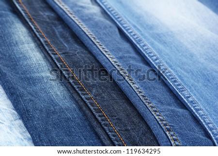 Many jeans closeup - stock photo