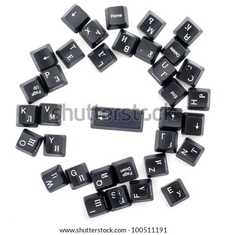 Many keyboard buttons isolated on white