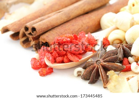 Many kind of Chinese herbal on white background - stock photo