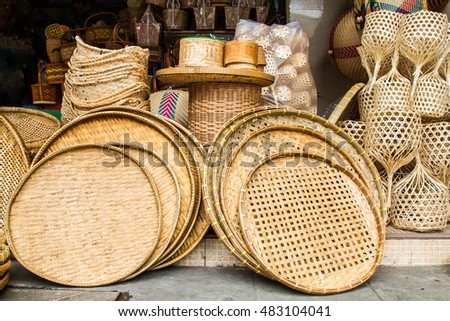 Many kind of hand made wicker baskets in a shop