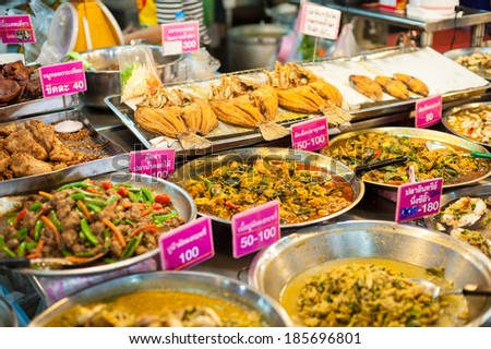 Many kind of Thai food sell in fresh market in Asia , Thailand  - stock photo