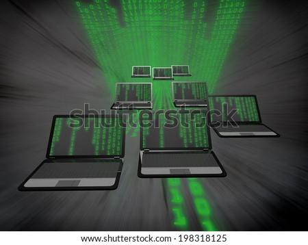 Many laptops with a binary code. - stock photo
