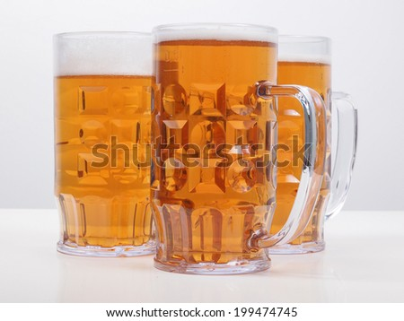 Many large glasses of German lager beer