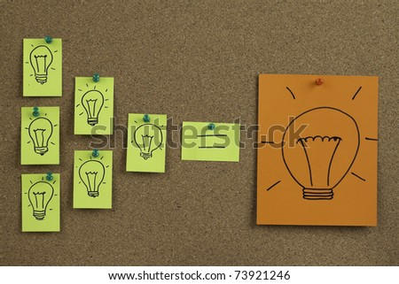 Many light bulb drawn on sticky note. Many small ideas can be a big idea.