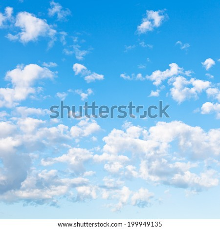 many little fluffy clouds in blue sky in summer - stock photo