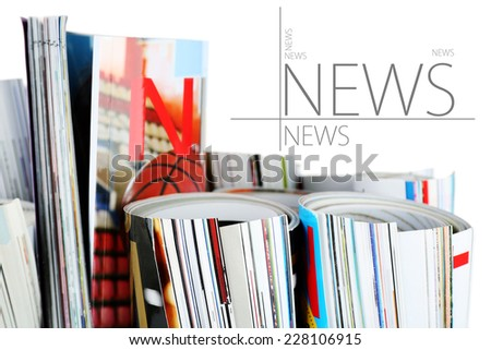 Many magazines close up - stock photo