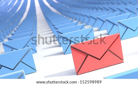many mail (email). abstract. 3d. - stock photo