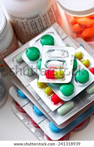 Many Medical pills. Health care Pharmaceutical background - stock photo