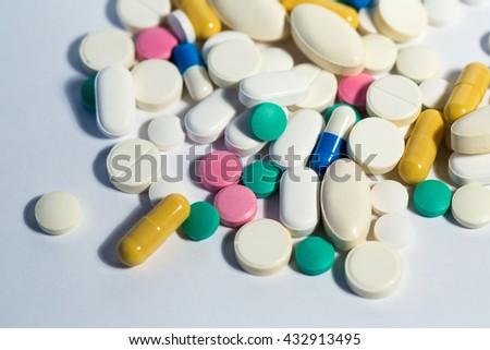 Many medical pills. Medicine background. - stock photo