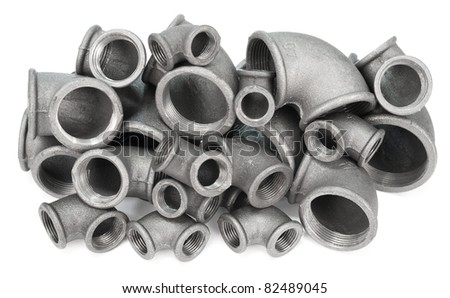many metal pipe bends with inner thread - stock photo