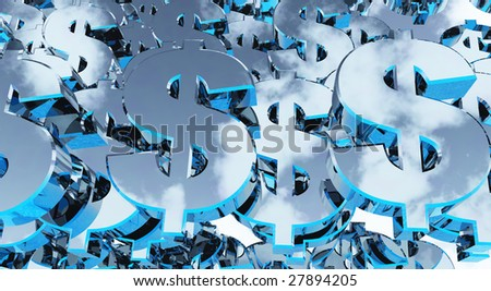 many metallic dollarsigns - background - 3d illustration