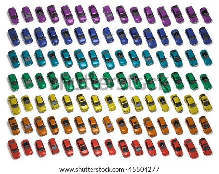 many miniature cars with white background color - stock photo