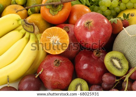 many Mix of native and exotic fruits - stock photo