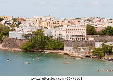 Many Modern Buildings along the coast of Puerto Rico - stock photo