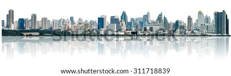 many modern buildings on midtown, showing skyscraper in panoramic metropolitan, isolated on white background  - stock photo