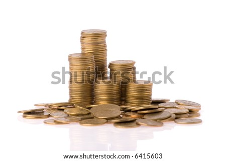 many money coins column over white background