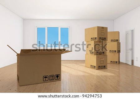Many moving boxes in bright clean empy apartment room - stock photo